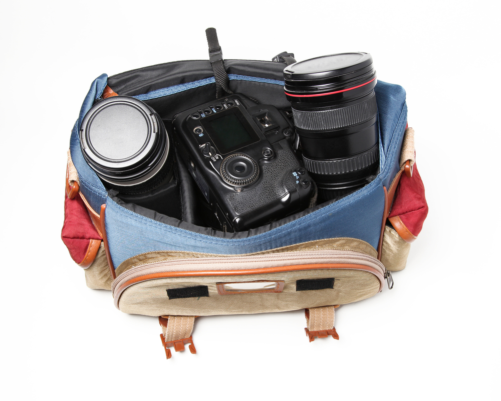 camera in a travel bag