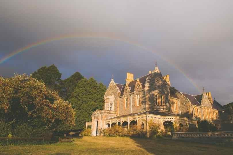 Rainbow behind Abercrombie House in Bathurst